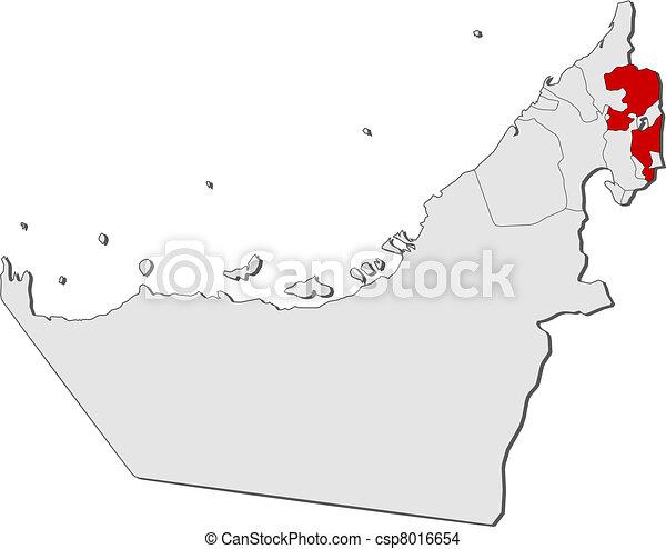 Map of the United Arab Emirates, Fujairah highlighted - csp8016654