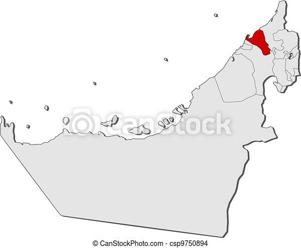 Map of the united arab emirates umm alquwain highlighted eps
