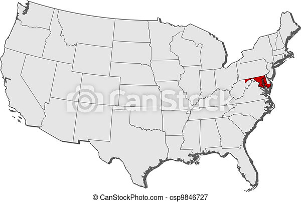 Map of the United States, Maryland highlighted - csp9846727