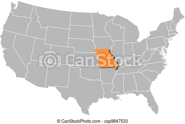 Map Of The United States Missouri Highlighted Political Map Of