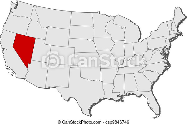 Map Of The United States Nevada Highlighted Political Map Of