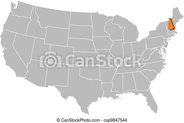 Map Of The United States New Hampshire Highlighted Political Map