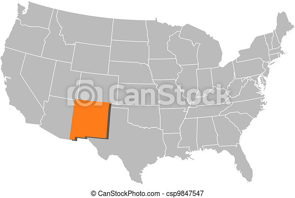 Map of the united states, new mexico highlighted. Political map of ...