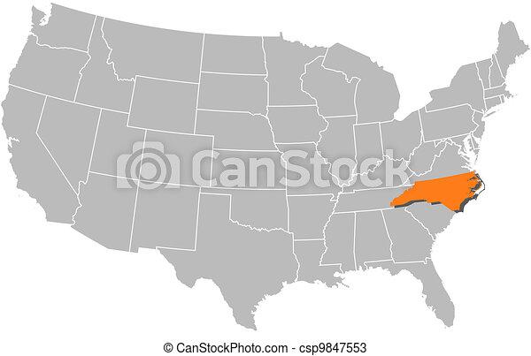Map Of The United States North Carolina Highlighted Vectors - Us map nc