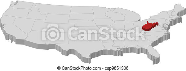 Map of the united states, west virginia highlighted. Political map ...