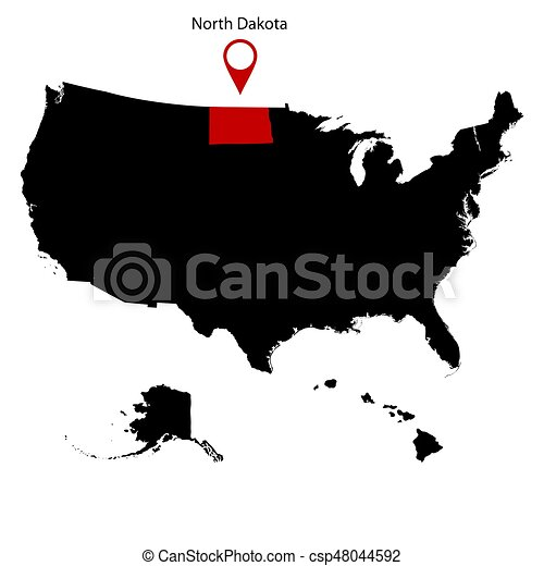 Map Of The US State Of North Dakota On A White Background Eps - Us map north dakota