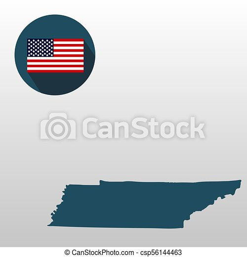 Map of the U.S. state of Tennessee on a white background. American flag - csp56144463
