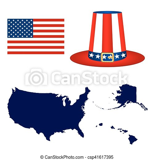 Map of the USA with a hat and flag on white background - csp41617395