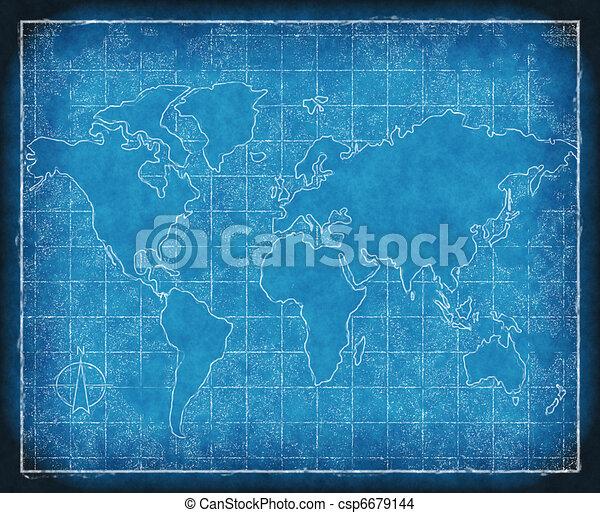 map of the world blueprint - csp6679144