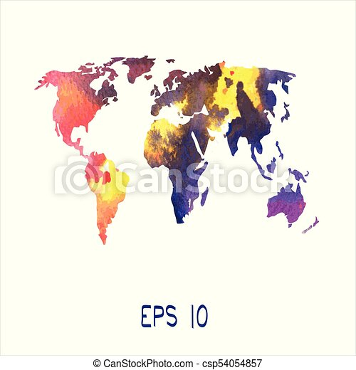 Map of the world drawn in a vector. map of the world painted in ...