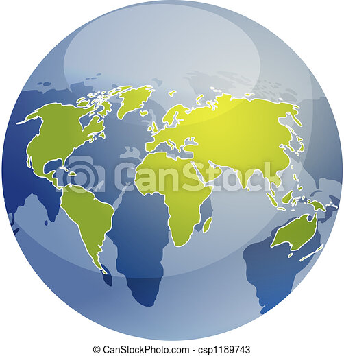 Spherical World Map.Map Of The World Illustration On Globe Map Of The World