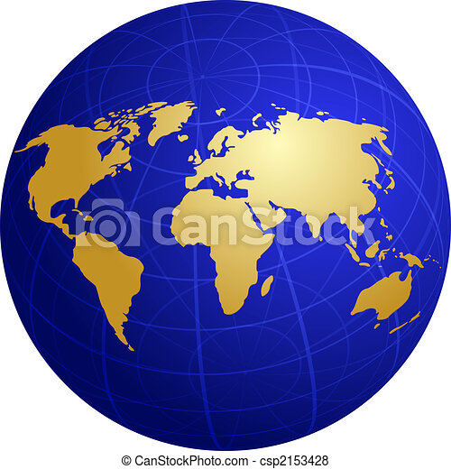Spherical World Map.Map Of The World Illustration On Globe Grid Map Of The World