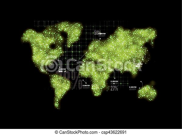 Map of the world in the form circles. Vector - csp43622691