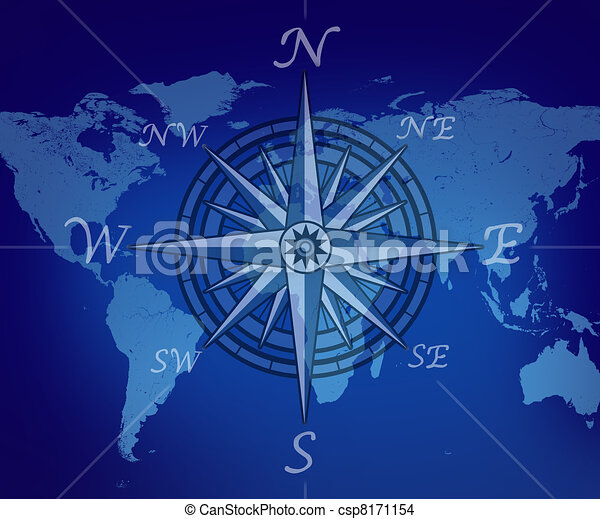 Map Of The World With Compass.Map Of The World With Compass On Blue Background Representing Travel