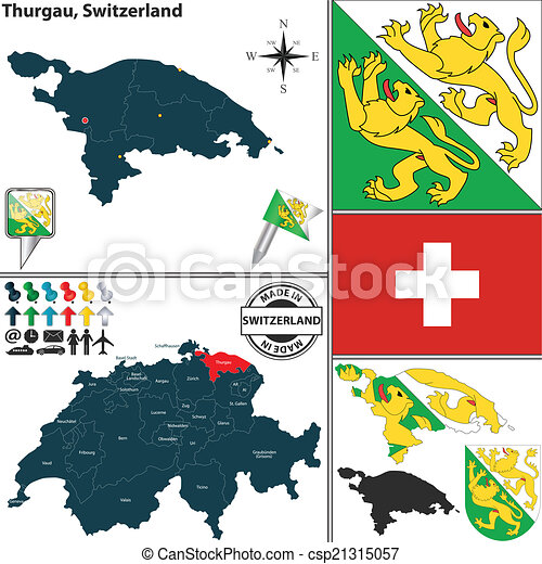Map of Thurgau, Switzerland - csp21315057