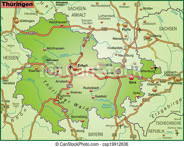 Map of thuringia with highways vectors Search Clip Art