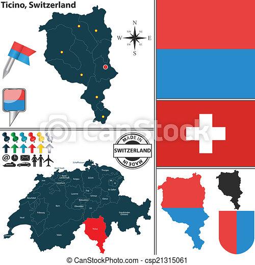 Map of Ticino, Switzerland - csp21315061