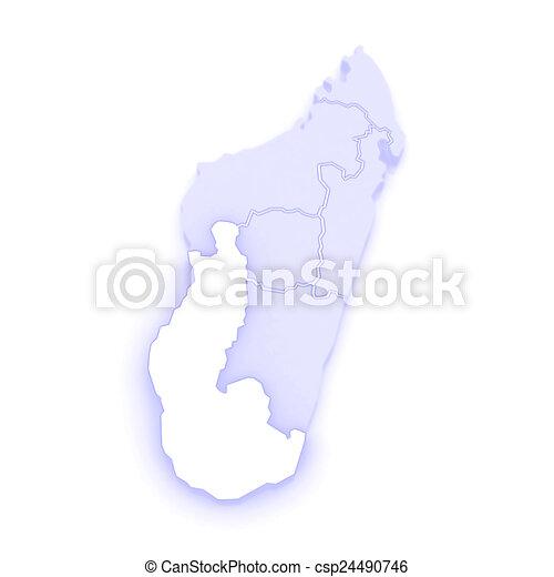 Map of toliara. madagascar. 3d.
