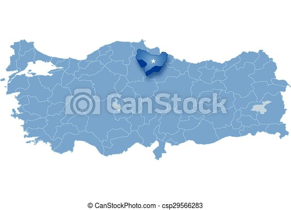 Map of turkey amasya Map of turkey where amasya province vector