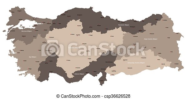 Map of turkey. A large and detailed map of turkey.