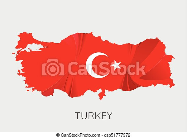 Map of turkey with flag as texture isolated on grey background ...