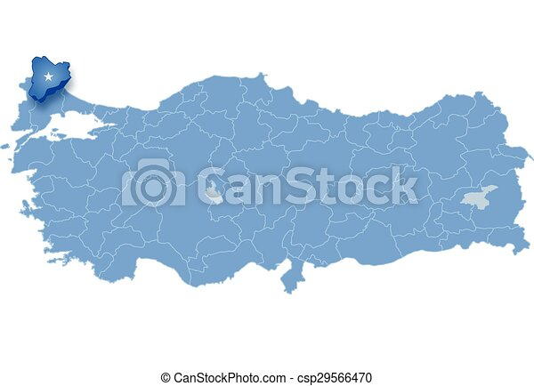 Map of Turkey, Kirklareli