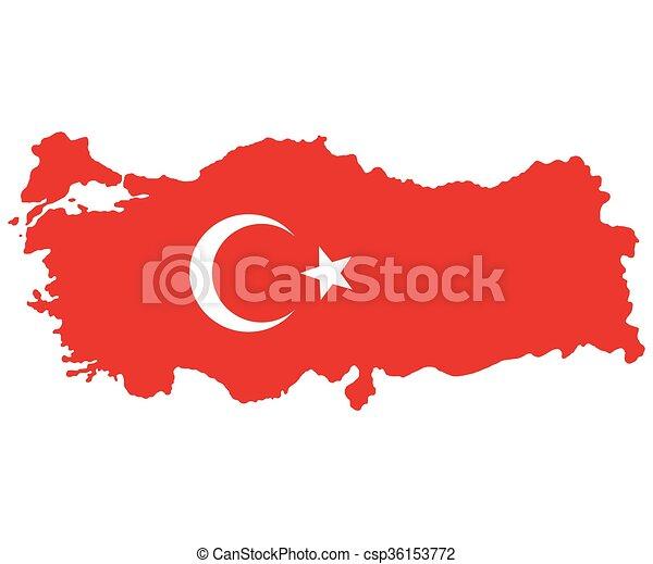 Map of Turkey Turkish flag  - csp36153772