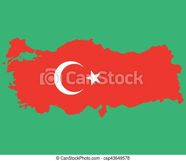 Map of Turkey Turkish flag painted with color symbols  the moo - csp43649578