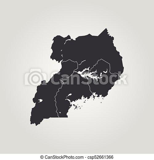 Map of uganda. vector illustration. world map.