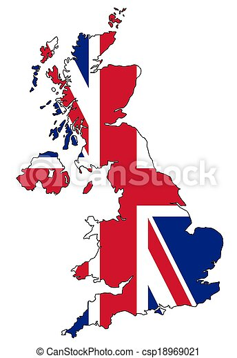 Map of UK with flag - csp18969021
