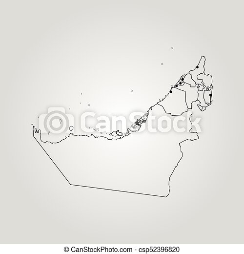 Map of united arab emirates. vector illustration. world map.