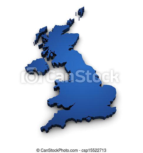 Map Of United Kingdom 3d Shape - csp15522713