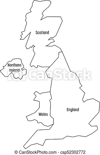 Simple Map Of England.Map Of United Kingdom Countries England Wales Scotland And