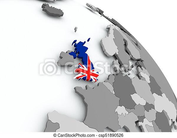 Map Of Uk On Globe.Map Of United Kingdom With Flag On Globe United Kingdom On Globe