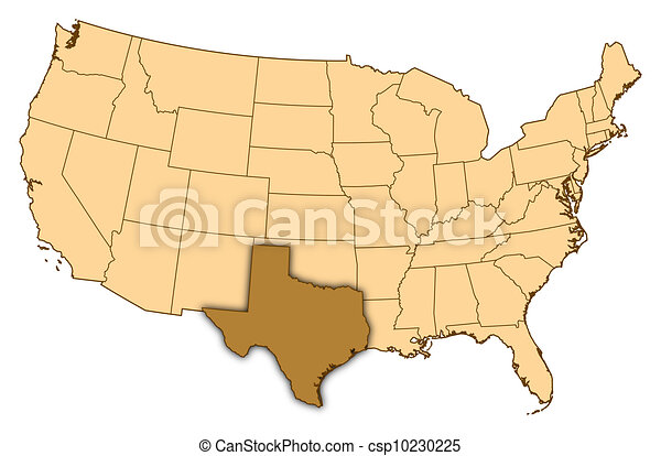 Map of united states, texas highlighted. Map of united states where ...