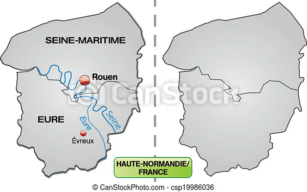 Evreux France Map.Map Of Upper Normandy With Borders In Gray