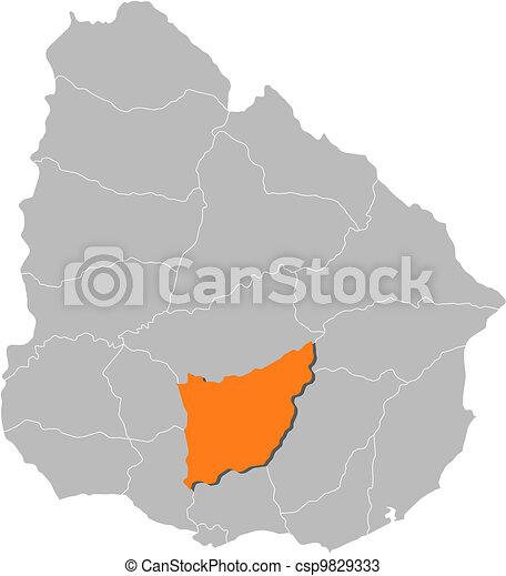 Florida Political Map.Map Of Uruguay Florida Highlighted Political Map Of Uruguay With