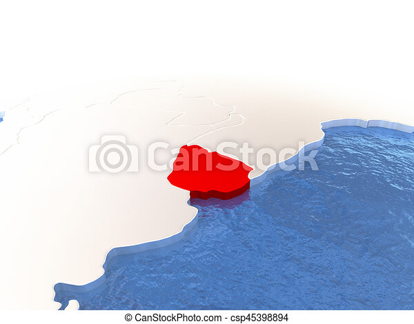 Map of Uruguay on globe - csp45398894
