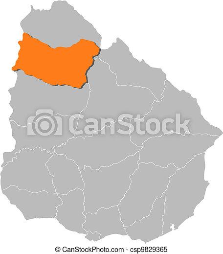 Map of uruguay salto highlighted Political map of uruguay