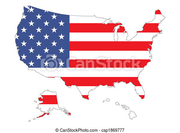 Map of US with flag - csp1869777
