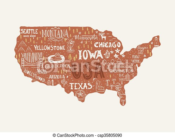 Map of usa. Usa map - handdrawn illustration with lettering and ...