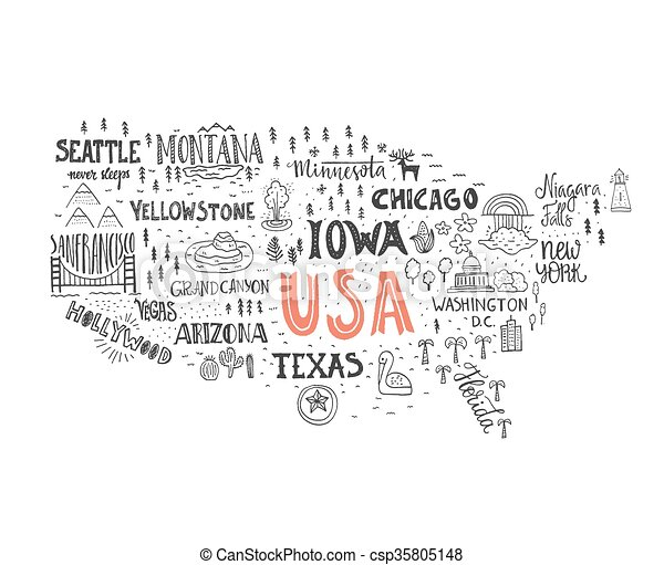 Map of usa. Handdrawn illustration of usa map with hand lettering ...