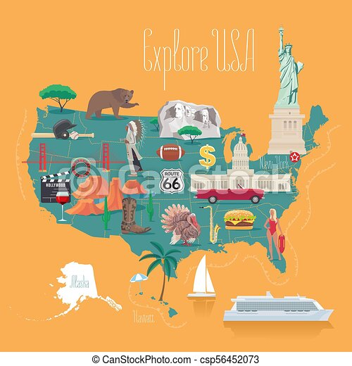 Map of usa vector illustration, design. icons with american white ...