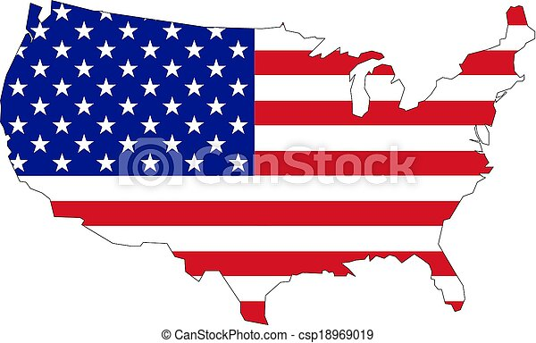 Map of USA with flag - csp18969019
