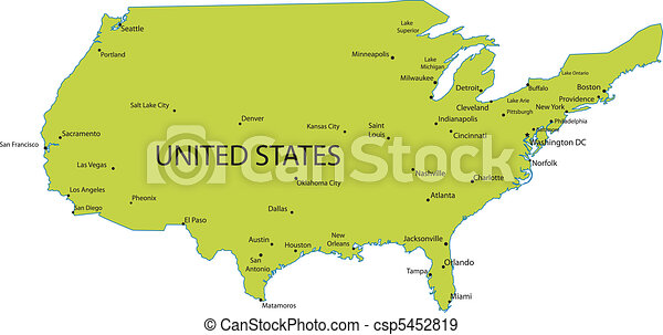 EPS Vector Of USA Map With States And Capital Cities Csp - Capital cities of usa
