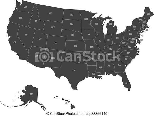 Map of USA with state abbreviations