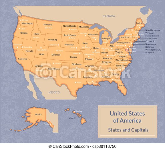 Map of USA with states and their capitals