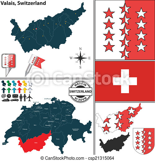 Map of Valais, Switzerland - csp21315064