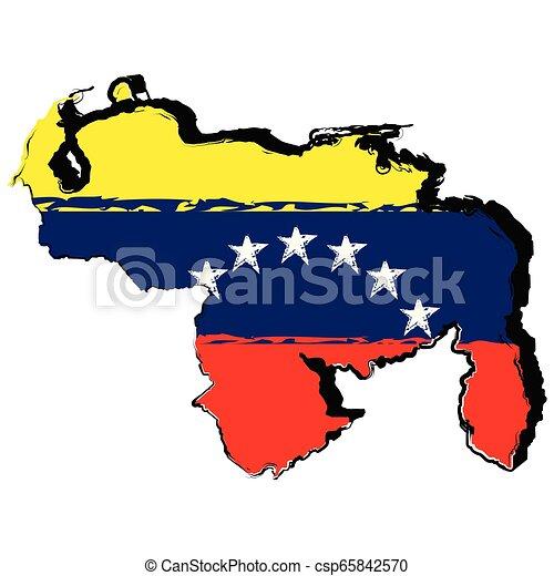 Map of venezuela with flag - csp65842570