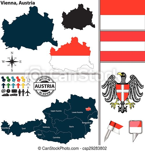 Map of vienna austria vector map of state vienna with coat of arms map of vienna austria csp29283802 gumiabroncs Choice Image